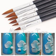 6pcs/Set Different Size Black Nail Art Acrylic Drawing Brush Pen UV Gel Builder Paiting Brushes #2/4/6/8/10/12