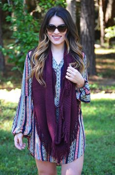 Click to shop - free shipping over $50!  Pointelle Fringe Scarf - Burgundy – Worn & Raised