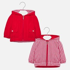 Reversible windbreaker jacket for baby girl Red Windbreaker Jacket, Pattern Design, Rain Jacket, Babe, Vogue, Rompers, Fabric, Red, How To Wear