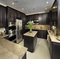 Dark wood cabinets!
