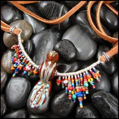 """""""Painted Eagle"""" Lampwork and Sterling necklace. Available on my website www.beadworx.com"""