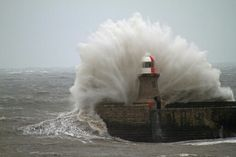 23 March 2013 The North East coast was hit bad by a severe sea Storm that hit the North & South Shields Piers at the entrance of the Tyne Sea Storm, Stormy Sea, North South, Sea Waves, East Coast, Niagara Falls, England, River, Lighthouses