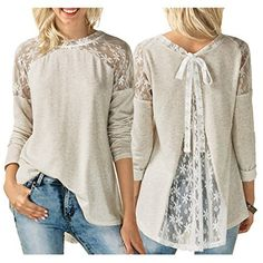 Tops & Shirts Ladies Womens Chiffon Long Sleeve Lace Floral T-Shirt Ladies Loose Tops Blouse Mode Outfits, Outfits 2016, Winter Outfits, Lace Tops, Diy Clothes, Fall Clothes, Blouses For Women, Ideias Fashion, Long Sleeve Shirts