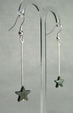 Hematite Star Long Drop Earrings - £5.50 at http://jewellerybyrebecca.co.uk/hee001