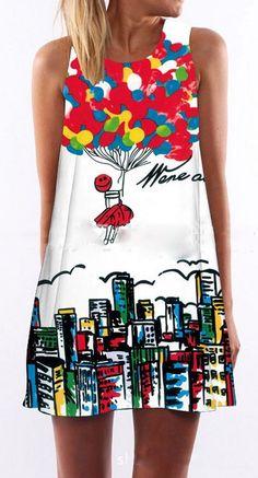 Women loose fit dress air balloon city mini short skirt funny graffiti playful #unbranded