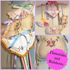 Doiley Craft Tutorial: Use vintage doilies to make flutterbies (butterflies!) http://heartworkz.blogspot.com.au/2014/08/flutterbies-and-rainbows.html
