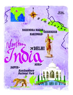 India map by Scott Jessop in the December 2012 issue of The Sunday Times Travel Magazine