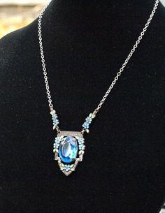 Art Nouveau Blue Crystal Necklace