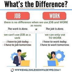 What is the Difference between Job and Work? - English Lesson via Skype English Learning Spoken, Teaching English Grammar, English Writing Skills, English Language Learning, English Lessons, French Language, Interesting English Words, Learn English Words, English Study