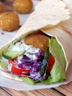 Falafel Sandwich with Tzatziki Sauce | YummyAddiction.com