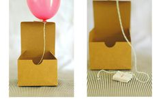 Such a great idea: A tiny helium balloon tied with thread floats out of its box to announce the upcoming festivities! This idea, from On H. Mini Balloons, Wedding Balloons, Helium Balloons, Balloon Invitation, Box Invitations, Shower Invitation, Balloon Surprise, Surprise Box, Birthday Box