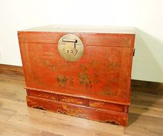 Antique Chinese Trunk (5587), Hand Painted Red Lacquer , Circa 1800-1849