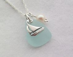 Scottish Sea Glass and Sterling Silver Yacht Necklace - SAILING £24.00