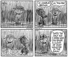 #peanutsspecials #ps #pnts #schulz #charliebrown #pigpen #kid #cloud #dust #walking #rain