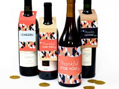 Free Printable Wine Gift Tags from Sarah Hearts, via Creature Comforts. There are also a bunch of other printables in the same style if you're the host (dinner menu, toothpick markers, etc. Wine Bottle Tags, Wine Tags, Wine Labels, Diy Thanksgiving, Gift Tags Printable, Wine Gifts, Hostess Gifts, Homemade Gifts, Paint Bathroom