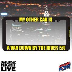 SNL Matt Foley Other Car Is A Van License Plate Frame - Bif Bang Pow! - Saturday Night Live - Car Accessories at Entertainment Earth