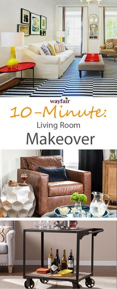 10 Minute Living Room Makeover: It only takes 10 minutes to implement one (or more!) of our easy tips for a whole new look in your living room. #wayfair