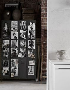 Industrial vintage locker cabinet that has been given a fresh appeal by popping B & W images on its doors.