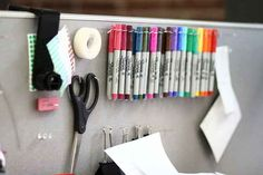 Use T-Pins to create a DIY pegboard to organize supplies.
