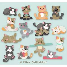 """""""Eline Pellinkhof"""" created a cat version for the serie """"Collectables"""" for the brand """"Marianne Design"""". here you can see some of the kitty cats you can create thanks to her die set. Craft Projects, Sewing Projects, Paper Punch Art, Marianne Design Cards, Cat Quilt, Dog Cards, Cat Crafts, Animal Cards, Felt Toys"""