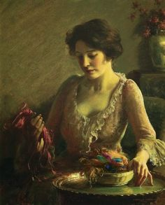 ~ Charles Courtney Curran ~ American painter, 1861-1942: Choosing the Colors