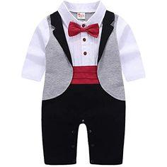 DEMU Baby Jungen Gentleman Strampelanzug Smoking Jumpsuit Kurze mit Fliege Einteiler Strampler Tier Druck