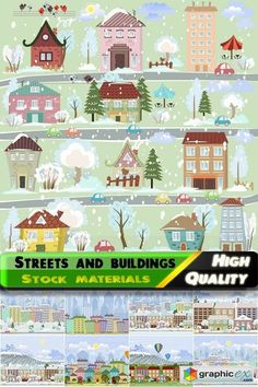 Toons streets and buildings illustrations - 25 Eps