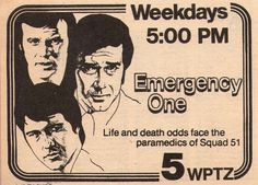 1978 WPTZ tv ad ~ EMERGENCY ONE ~ Randolph Mantooth/Robert Fuller/Kevin Tighe