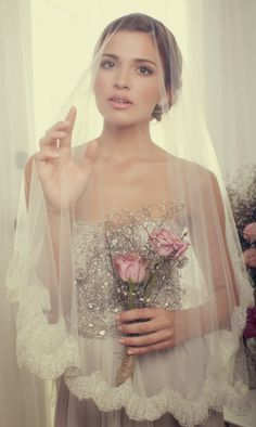 Lace trim #wedding veil ~ Bridal Accessories by Anna Campbell 2013 Collection | bellethemagazine.com