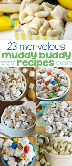 23 Muddy Buddies Recipes! Puppy Chow is an easy snack mix that is perfect for dessert or gifting!