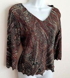 DRESSBARN 3/4 SLEEVE V-NECK BROWN MULTI PATTERN LINED SHIRT TOP BLOUSE MED #dressbarn #KnitTop