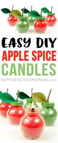 Ever wondered how to make candles? These Easy DIY Apple Spice Candles are super simple to make, and they smell incredible! Makes a great DIY gift idea for friends, family, teachers, neighbors, and more! via @hiHomemadeBlog