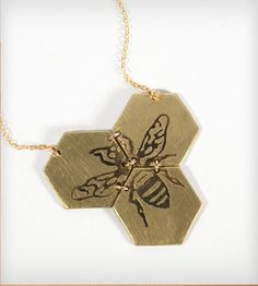 Etched Honeybee Necklace