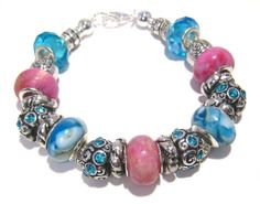 Pandora Bracelet in Pink and Blue by BrankletsNBling on Etsy,