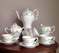 Antique French Limoges Porcelain Tea Set Transfer printed Lantenier Art Nouveau #LimogesALantenier