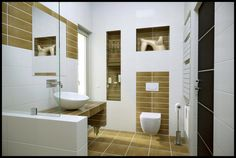 Admirable Modern Bathroom Design With Soft Brown Floor And Wall Decor Featuring Cool Bath Vanity With White Round Washbasin Also Floating White Toilet As Well As Built In Powder Racks And Stainless Tissue Holder Ideas For Luxury Images Of Modern Bathrooms Design. .