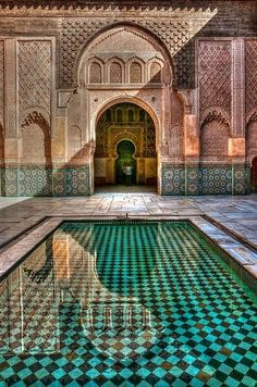 Marrakech, Morocco: medersa Ben Youssef - city guided tour by Riad Jaune Safran Places Around The World, Oh The Places You'll Go, Travel Around The World, Places To Travel, Travel Destinations, Places To Visit, Around The Worlds, Holiday Destinations, Travel Tips