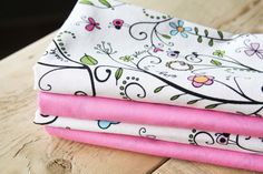 Fabric Napkins  Pink with Floral Vines  Set by toocutecustomcrafts,