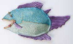 Ceramic Wall Art, Clay Animals, Ceramic Artists, Sculpture Art, 3 D, Ceramics, Purple, Fish, Ceramica