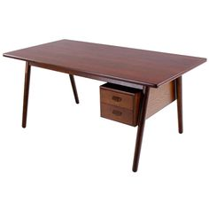 Rare Danish Modern Teak & Oak Desk Designed by Poul Volther | From a unique collection of antique and modern desks at http://www.1stdibs.com/furniture/storage-case-pieces/desks/