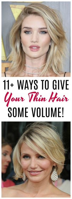 11+ ways to give your thin hair volume: Are you tired of flat, lifeless hair? Gals with thin hair are always on the hunt for some easy ways to add some life to their locks. From haircut ideas to product recommendations, we have it all. Click on over to get the best tips on giving your thin hair some much needed volume.