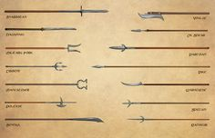 D&D, Pathfinder, and RPG News at Morrus' Unofficial Tabletop RPG News - Do You Know Your Glaive-Guisarme From Your Bohemian Earspoon? Fantasy Weapons, Fantasy Rpg, Medieval Fantasy, Fantasy Warrior, Fantasy Sword, Anime Weapons, Armadura Medieval, Boar Spear, Medieval Weapons