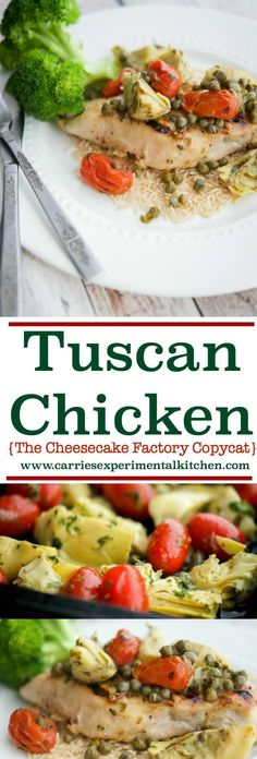 THE CHEESECAKE FACTORY has this Tuscan Chicken on their Skinnylicious menu, it is loaded with so many fresh, Mediterranean flavors you will not miss all of the extra calories. Learn how to make this popular restaurant entree at home. Cheesecake Factory Copycat, Best Chicken Recipes, Healthy Chicken, Turkey Recipes, Chicken Ideas, Grilled Chicken, Balsamic Chicken, Turkey Dishes, Restaurant Recipes