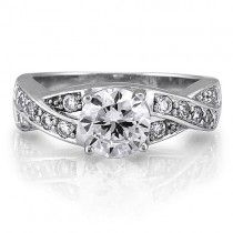 Sterling Silver Round Cubic Zirconia CZ Solitaire Ring w/Side Stones