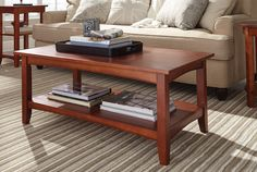 "The Shaker Cottage 42"" Coffee Table with one shelf is versatile for any décor."
