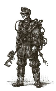Prussian militarism attacks! Here a mid-ranked officer of one of the stratospheric zeppelins of Wilhelm II's Kaiserliche Luftflotte. I kicked off with a pencil sketch at school and finished it...