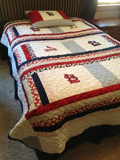 St Louis Cardinals Twin Size Quilt With Matching Pillow Sham 28500 Via Etsy