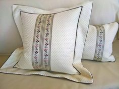 Decorative elegant romantic pillow cover, beige with flower trim, cushion cover with flange 19X19 by StyleAndDeco on Etsy