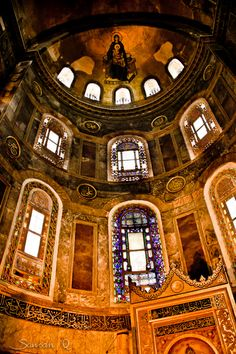 Haghia Sophia,Istanbul --some of the Christian mosaics are now visible --see the top of the dome.
