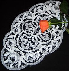 Advanced Embroidery Designs - FSL Battenberg Lace Rose Wreath Doily Set